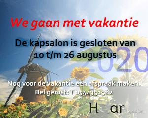 Vakantie 2020 Kapsalon He-ar